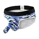 iYmitz Gedruckt Soft Unterhosen Knickers Shorts Unterwäsche Seidig Shorts Slips Höschen Schnelltrocknend Atmungsaktiv Unterwäsche für Männer(Blau,EU-50/CN-XL