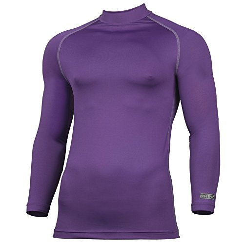 Rhino Base Layer Top Adult - Unisex Long Sleeve Sports Compression Body Fit Top Purple XXXLarge