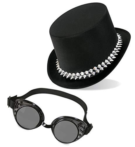 KarnevalsTeufel Steampunk Set Zylinder und Schweißerbrille Gothic Hut und Brille Accessoire (Punkzylinder)