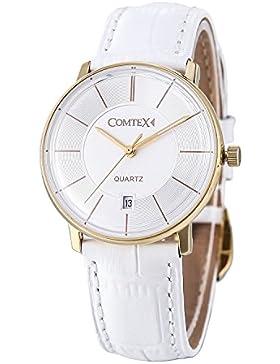Comtex Damen Uhr mit weißem Zifferblatt Gold Fall 30 m Wasserdicht