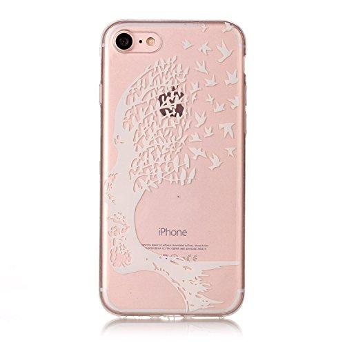 Per Apple iPhone 6 Plus,Sunrive® Custodia Cover Case in molle Trasparente Ultra Sottile TPU silicone Morbida Flessibile Pelle Antigraffio protettiva(pizzo su e giù) Albero bianco