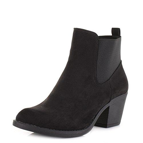 Womens Suede Look Block Heel Western Chelsea Ankle Boots SIZE 5