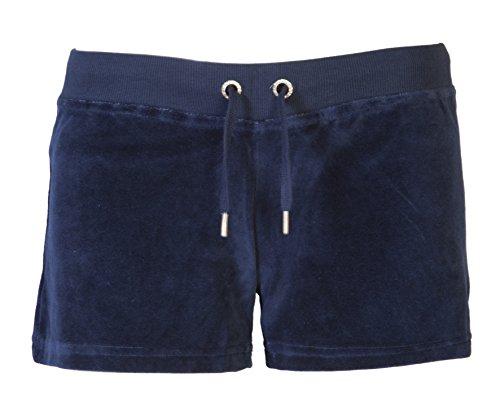 Damen Shorts Damen Strand Shorts von Brody & Co. Velours Hot Pants mit Strass Krone Mädchen Sommer tragen Gr. S, marineblau (Krone Pant Velour)