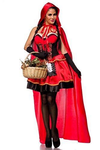 sexy Cappuccetto Rosso Costume Carnevale set AT: vestito, mantello, guanti, taglia S (36), L (40)