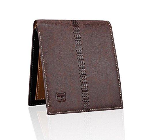 Geldbörsen, Rcool Mode Herren Bifold Business Leder Brieftasche Karte Tasche Geldbörse (Kaffee) (Geldbörsen Taschen Prada)