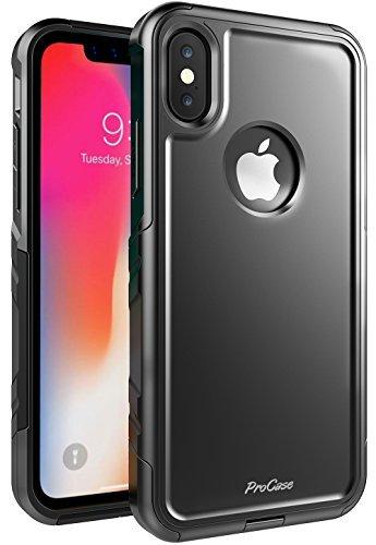 ProCase Schuzhülle für iPhone XS/X, Stoßfest Full-Body Robustes Case Heavy Duty Rundum Schutzhülle Cover mit eingebautem Displayschutz für Apple iPhone XS (2018) / X(2017) - Schwarz -