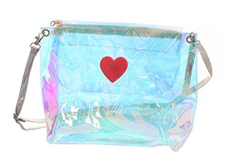 LB-84 Hologram Transparent Herz Kunststoff Kult Pastel Goth Lolita Bag Japan Harajuku Tasche (Gothic Lolita Handtasche)