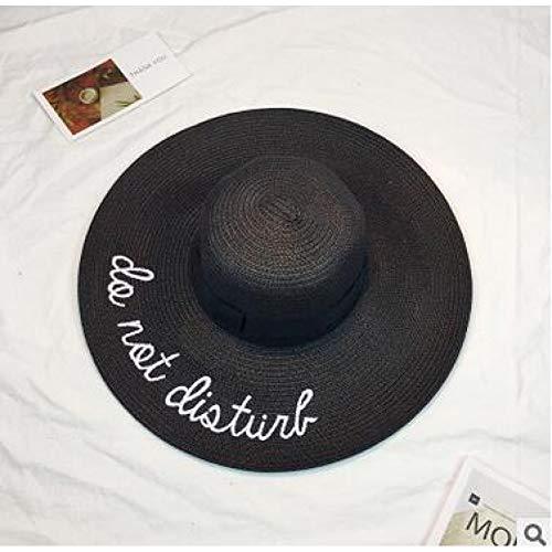 CYRYR Breiter Randsonnenhüte Für Frauen Buchstabe-Stickerei-Strohhutmädchen Damen-Strohhüte Faltende Reisekappe3 3 (Abteilung 56-boot)