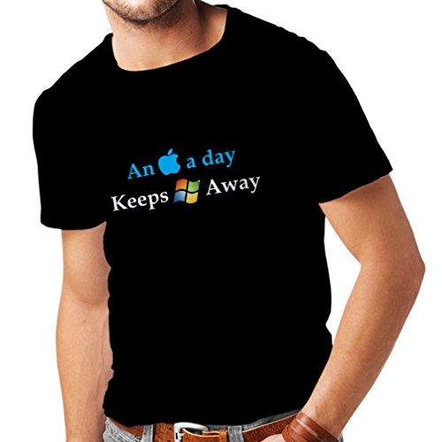 lepni.me Männer T-Shirt EIN Apfel am Tag. - Lustige Sprüche, humorvolle technische Geschenkideen (Large Schwarz Mehrfarben)