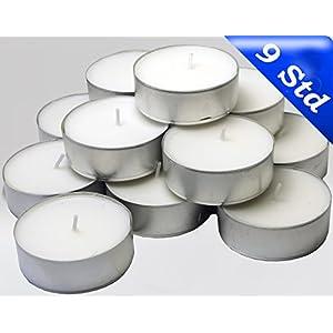 24 Maxi Teelichter im Alubecher, Weiß, Maxilicht, Jumbo Teelichter, ohne Duft, Kerzen, Teelicht, Aluminiumhülle, Gastronomie Qualität, (2 Packungen á 12 Maxi – Teelichter)