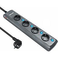 BESTEK regleta con 4 Tomas, interruptores Individuales, (1,8 m, 4000w, protección para niños), Color Negro con luz Azul