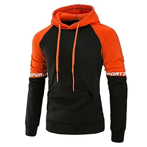 Famille Hommes Manche Longue Veste, Encapuchonné Sweat-shirt Outwear (Large, Orange)