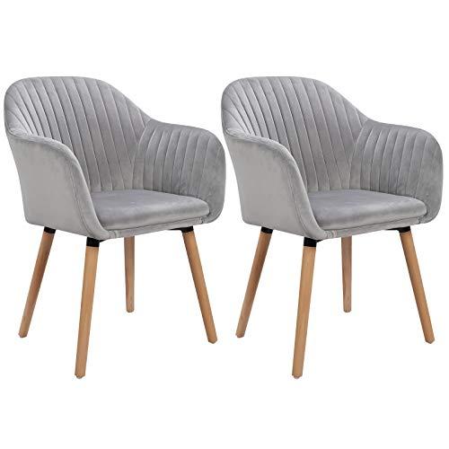 WOLTU Esszimmerstühle BH95hgr-2 2er Set Küchenstuhl Wohnzimmerstuhl Polsterstuhl Design