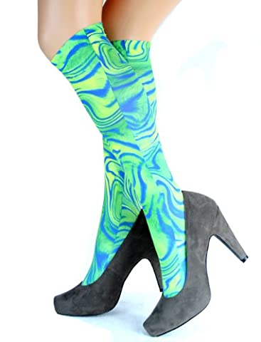 Hotlook Kniestrümpfe grün blau Schlierenmuster 70er Jahre bedruckt von Hotlook (Mädchen Bad-accessoires)