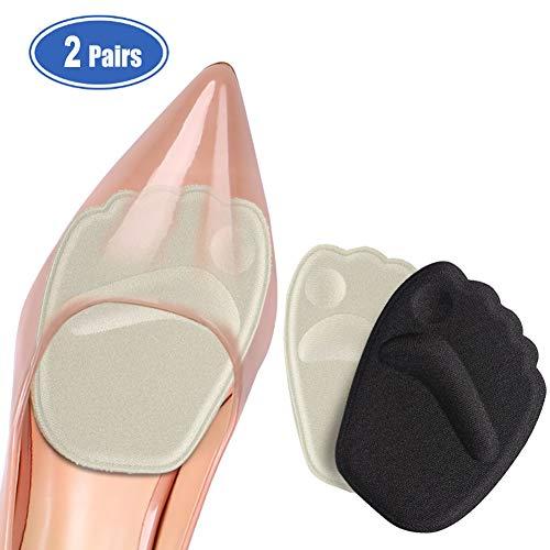 Haofy Almohadillas para Los Pies Plantillas de Zapatos de Tacón Alto, Antideslizante Plantillas de Silicona, Almohadillas de Antepié de gel Almohadillas Metatarsal para Mujeres - 2 Pares, Piel y Negro