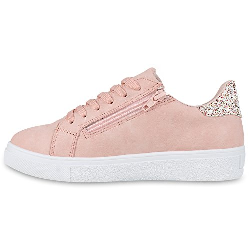 Moderne Damen Sneakers Lack Zipper Sportschuhe Freizeit Schuhe Rosa Reißverschluss