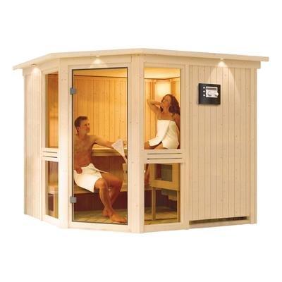 Amelia 2 - Karibu Sauna inkl. 9-kW-Ofen - ohne Dachkranz -