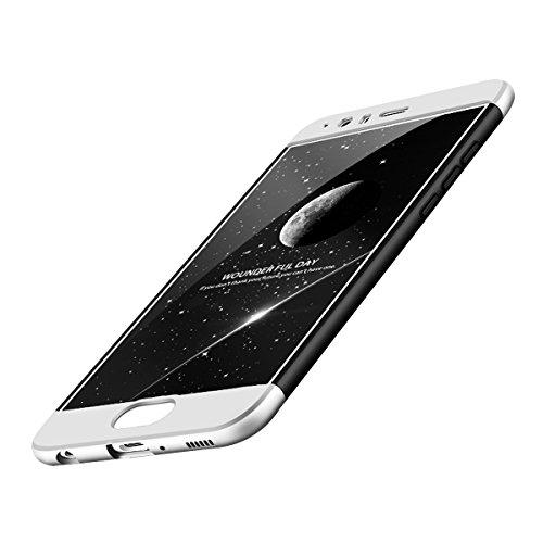 "Huawei P10 Cover, Custodia Huawei P10 360 Gradi Ultra Sottile Cassa 3 in 1 Duro PC Case Rigido Elegante Shock-Absorption e Custodia per Huawei P10/ P10 Plus (Huawei P10 5.1"", Nero+Argento)"