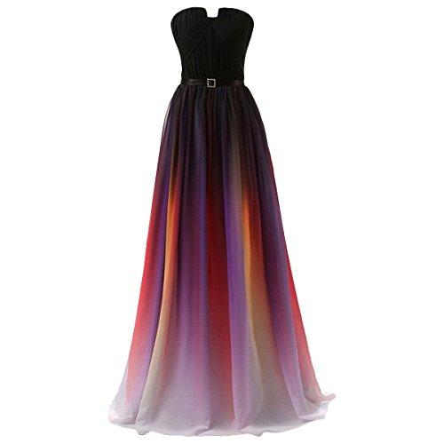 Damen Farbverlauf Chiffon Abendkleider Brautjungfernkleid...