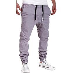 Sky Hombres de Ocio de Moda de Verano Ropa Pantalones de Jogging Casual Ocio Deporte Pantalones colapso de Amarre (XL, Gris)
