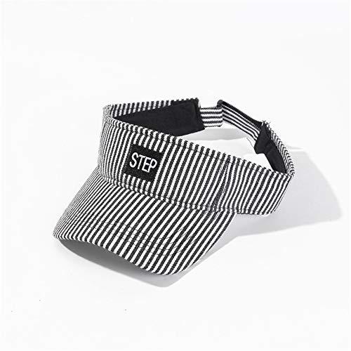XY-women's hat Elegant Streifen-Stickerei beschriftet Visier-Baseballmütze-beiläufige Sommer-Art-Sonnenhut-Frauen Stilvoll (Farbe : Schwarz, Größe : Free Size)