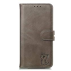 Hülle Kompatibel mit iPhone 6 Plus/iPhone 6S Plus, Premium Leder Flip Wallet Schutzhülle mit Kartenfächer Standfunktion Magnetverschluss, Stoßfest Kratzfest Schönen Katze Handyhülle Cover - Grau