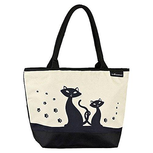 VON LILIENFELD® Tasche Damen Henkeltasche Shopper Bedruckt Motiv Schwarze Katzen