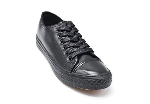 SHY56 * Baskets Tennis Sneakers Simili Cuir Vernis Noir avec Reflets Métallisés, Surpiqûres et Lacets Brillants Noir