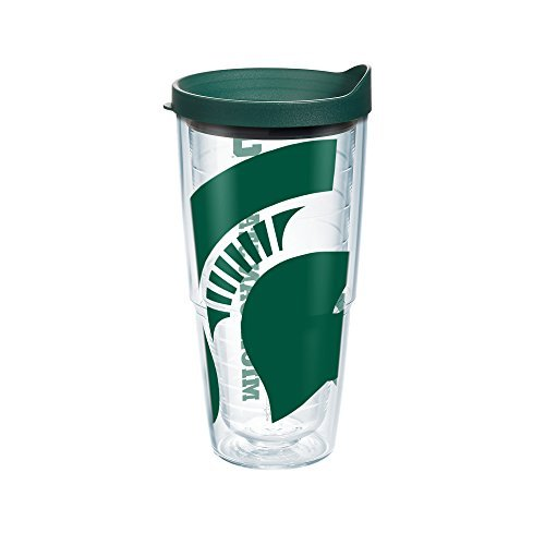 Tervis 1093916 Michigan State University Colossal Wrap Individual Tumbler with Hunter lid, 24 oz, Clear by Tervis Tervis Tumbler Michigan