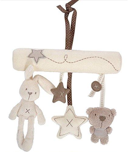 Hangqiao Baby Cute Music Plush Activity Crib Stroller Soft Toys Hanging Rabbit Star Shape