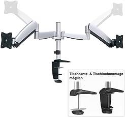 RICOO Monitor Tischhalterung für 2 Monitore TS3111 Monitorhalterung Gasfeder Schwenkbar Neigbar Höhenverstellbar Schreibtisch LCD Bildschirmständer 38cm/13-76cm/29 Zoll / 75x75 100x100 / Silber