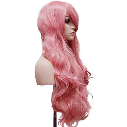 """Preisvergleich Produktbild Ambielly 32""""/80cm Damen-Perücke langes lockiges Wavy Haar-Partei Cosplay Perücke (Rosa)"""