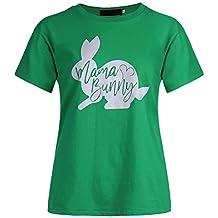 YUFAA Camiseta de Manga Corta de Mujer Mama Bunny Easter, Camiseta de Manga Corta,