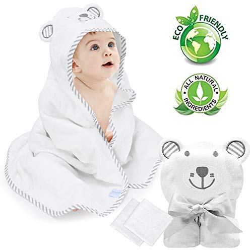 Eccomum Baby Hooded Towel Organic Bamboo Baby Bath Towels for Toddlers, Ultra Soft, Thick & Extra Absor bent, Large 90 x 90 cm, 2pcs Handkerchief, Perfect Baby Shower Gift for Boys and Girls