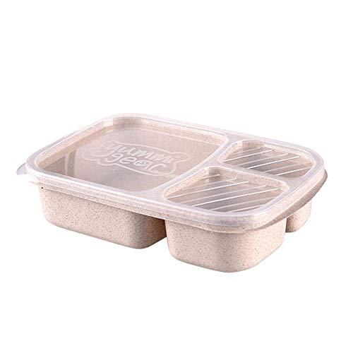 KonJin Picknick Weizenstroh Bento 3 Fach Mahlzeit Lagerung Mittagessen Container Lebensmittelzubereitung Lunch Box Aus Bambus Brotdose Brotzeitbox Brot Dose Mit Fächern Deckel