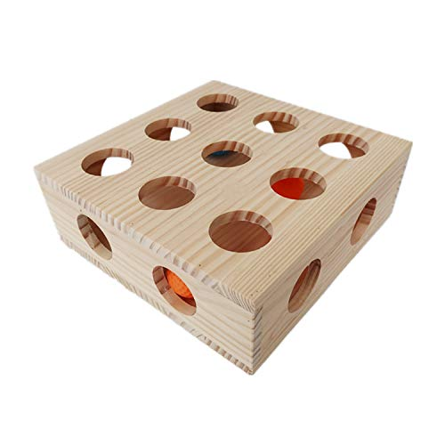 Hypeety Interaktives Katzenspielzeug Puzzle-Box aus Holz für Leckereien Labyrinth Scratcher Peek Play Toy Box Fun Interaktives Katzenspielzeug Fun Verstecken und Suchen Katze Agility Spielzeug