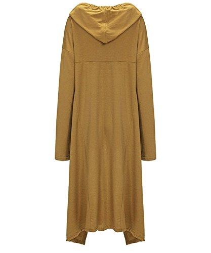 Felpa Lunga Donna Invernale Elegante Sweatshirt Pullover con Cappuccio Maglietta Maniche Lunghe Felpe Tumblr Ragazza Casual Oversize Vestito Asimmetrico Lungo Top Giallo