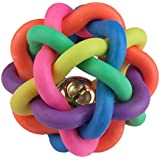 Foodie Puppies - Dog Cat Pet Toys Play Woven Balls with Inner Bell Colorful Squeaky Rainbow Rubber for Medium to Large Dogs