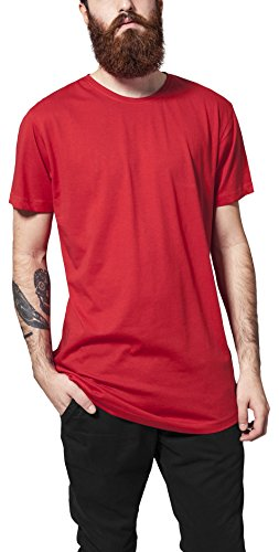 Urban Classics Herren T-Shirt Shaped Long Tee, Rot (Fire Red 697), X-Large (Hat-stoff Red)