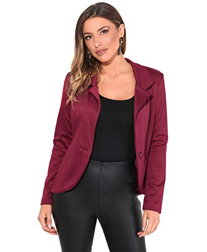 KRISP Smart Casual Stoff Fashion Blazer (Weinrot, Gr.38) (3558-WIN-10)