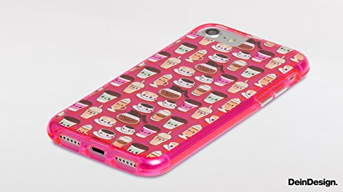 Apple iPhone 7 Bumper Hülle Bumper Case Glitzer Hülle Punkte Dots Rockabilly Bumper Case transparent pink