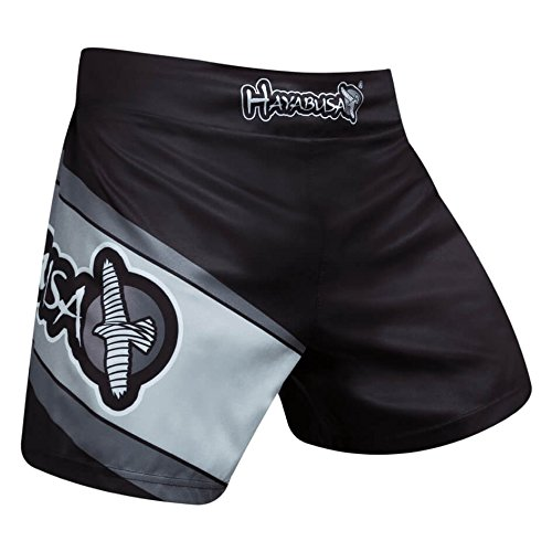 Hayabusa Kickboxing Fight Shorts - Black/Grey - Kickboxen K1 Muay Thai MMA Fight Shorts Glory Herren (XL) Hayabusa Shorts