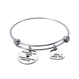 Jewelady Always My Mom Forever My Friend Engraved Stainless Steel Expandable Bangle Bracelet with Heart Charm