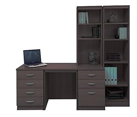 Home Office Furniture UK Desk with HUTCH Shelves Tall Narrow Bookcase Ideas Set, Wood, Walnut, wood Grain Profile, 5-Piece