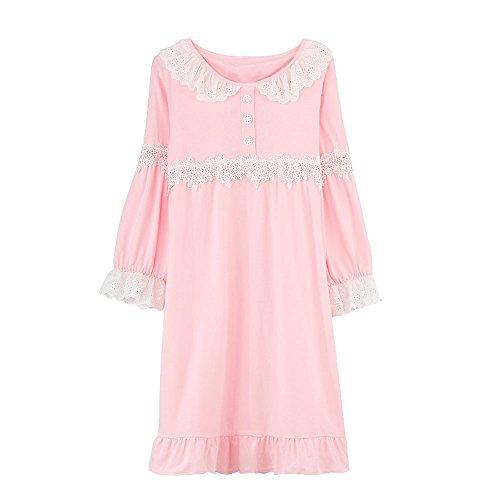 Laixing Buona Qualità Women's long-sleeved pigiama di cotone tuta sportiva lovely nightdress Pink