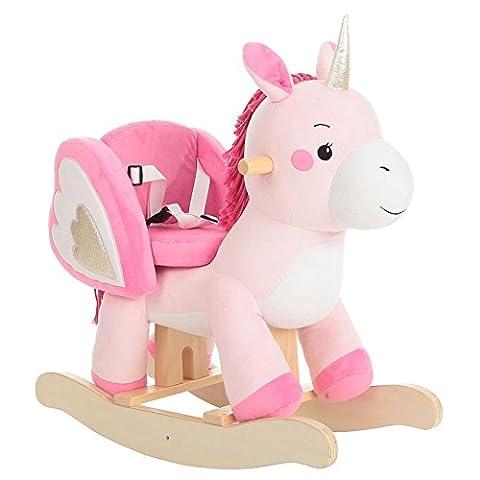 Labebe - bois cheval à bascule classique licorne rose