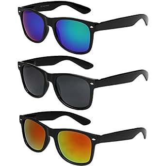 3er Pack X-CRUZE® X0 Nerd Sonnenbrillen Vintage Retro Style Stil Unisex Herren Damen Männer Frauen Brillen Nerdbrille Nerdbrillen - schwarz - Set A -