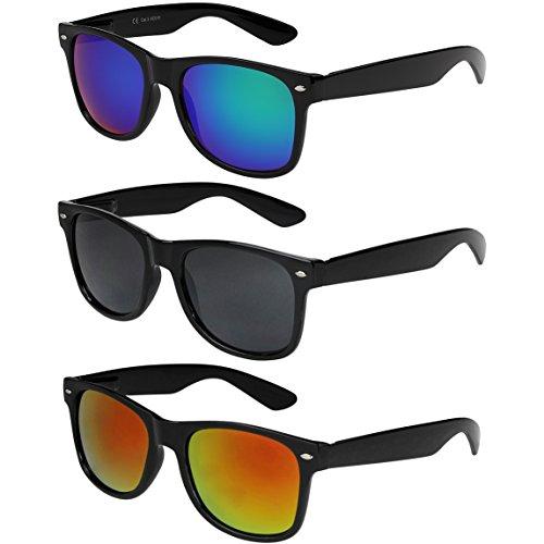 X-CRUZE 3er Pack X0 Nerd Sonnenbrillen Vintage Retro Style Stil Unisex Herren Damen Männer Frauen Brillen Nerdbrille Nerdbrillen - schwarz - Set A -
