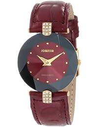 Jowissa Facet Strass J5.013.M - Reloj analógico de cuarzo para mujer, correa de cuero color rojo