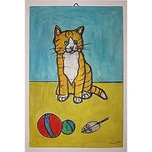 Die Katze- Gemaltes handgemachtes auf Segeltuchbrett, Acryl Aquarelltechnik, Maße cm 20x30x0.3 cm. Hergestellt in Italien, Toskana, Lucca, erstellt von Davide Pacini.